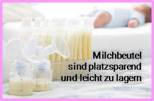 Milchpumpe mit Milchbeuten, gefüllt mir Muttermilch. Baby im Hintergrundabpumpen