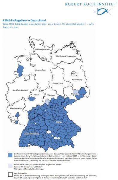 Karte: Zecken Risikogebiete Deutschland laut RKI